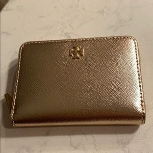 Tory Burch Emerson ZIP Coin/Key case, Rose Gold.
